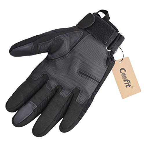 Coofit Taktische Handschuhe Winter Motorrad Handschuhe Herren Vollfinger Army Gloves Biking Skifahre Handschuhe (Schwarz, XL) - 5