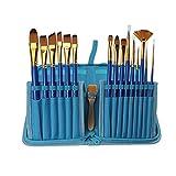 16 Stück Nylonhaar Ölmalerei Pinsel Set für Malerei Ölmalerei Acryl usw Ölmalpinsel Künstlerpinsel Schrägpinsel Acrylpinsel Set diverse Pinselarten mit Verstautasche