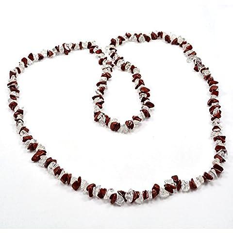 silvesto India Cristallo di quarzo con diaspro rosso Collana di corda per le donne PG 9204