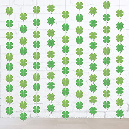 Howaf Glitter Kleeblatt Deko String Deckenhänger Garland Dekoration (4M, 36 Shamrock) für St. Patricks Day Deko Party ()