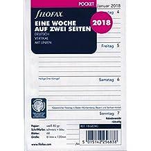 Filofax 000018-68240 Kalender, Pocket 1 Woche auf 2 Seiten (D) 2018