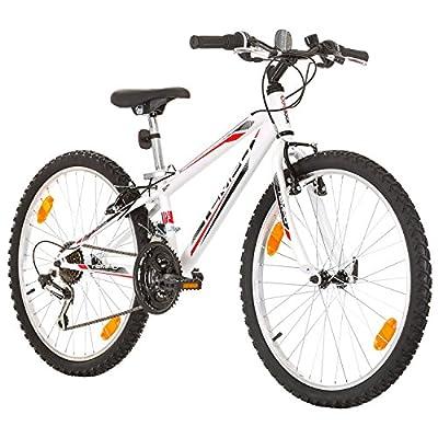 Multibrand Distribution 24 Zoll, CoollooK, Tempo, Jugend Fahrrad,Mountainbike MTB,Hardtail, Rahmen 28 cm,18-Gang, Weiss