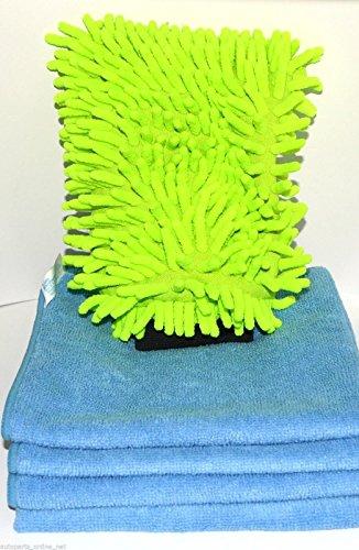 Preisvergleich Produktbild 11-teiliges Profi Autoputzset: 10 Mikrofasertücher + 1 Waschhandschuh Autopflege