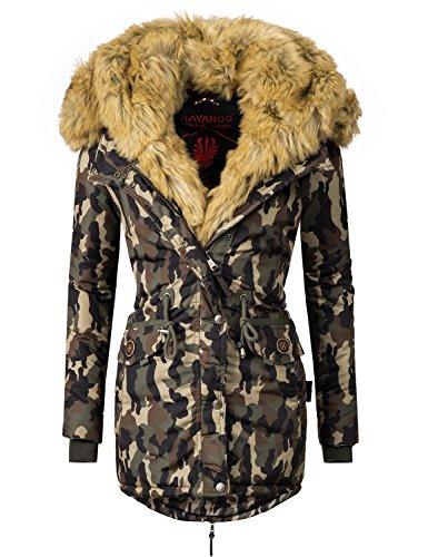 Navahoo Damen Mantel mit doppelter Kunstpelz-Kapuze Sweety (vegan hergestellt) Camouflage Gr. XL