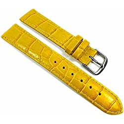 Louisiana Print Replacement Band Watch Band Leather Kalf yellow 21767S, width:28mm