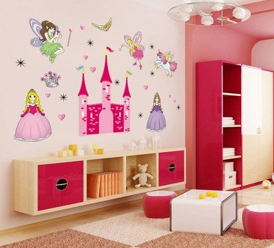 UberLyfe New Angel Castle Princess Fairy Wall Stickers Size 4 (Wall Covering Area: 75cm x 120cm) - WS-000090