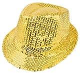 Das Kostümland Glitzernder Popstar Hut mit Pailletten - Gold - Partyhut zum Show, Disco und Faschingskostüm