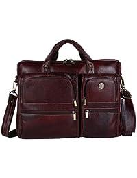 Hammonds Flycatcher Leather 16 Inch Brown Messenger Laptop Organizer Bag
