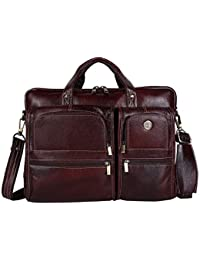 Hammonds Flycatcher Original Bombay Brown Leather 15.6 inch Laptop Messenger Bag with Trolley Straps (L=40,H=28, B=15 cm) LB136