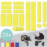 Tampen 21x Reflektor Aufkleber (Set) · hohe Sichtbarkeit im Herbst und Winter · Reflektoren für Kinderwagen, Fahrrad, Helm uvm. · wasserfeste Leuchtaufkleber · Gelb