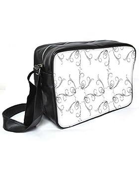 Snoogg grau Sketch Blumenmuster Leder Unisex Messenger Bag für College Schule täglichen Gebrauch Tasche Material PU