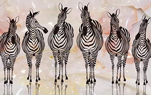 wallpapzz Carta da parati personalizzato soggiorno 3D solido Cavallo successo Zebra in Bianco e Nero a Rilievo a Cavallo sfondo murale,300x210cm/XXL
