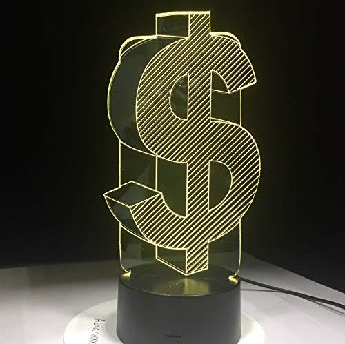 Neuheit 3D Usd Dollar Zeichen Wohnkultur Lampe Flash Party Atmosphäre Touch 7 Farbwechsel Led Illusion Licht