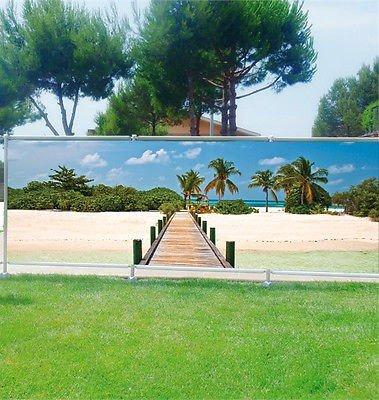 Stickersnews - Brise vue déco personnalisé jardins, terrasses et balcons Maldives réf 3610 Occultation - 100%, Dimensions - 180x70cm