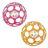 Oball - Rattle 10 cm 2er Set, Spielzeug mit Rasselperlen Pink & Orange