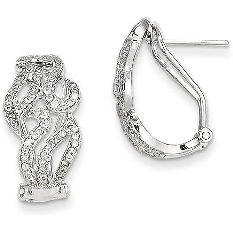 14kt oro bianco diamante Omega Indietro Orecchini