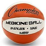 Champion Sports Leder Medizinball, orange/weiß