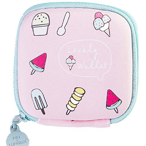 Chickwin Münzen Geldbeutel mini nette kleine quadratische Beutel kreative Paket mini einfache Münzen Beutel Kopfhörertasche (rosa popsicles) (Turtle Capri)