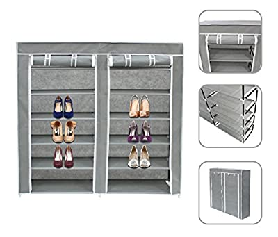 Todeco - Wadrobe, Closet - Material: Stainless steel tubes - Closing type: Velcro parts and zip - 2 doors, Shoe cupboard, 44.9 x 43.3 x 11 inch, Grey - cheap UK light shop.