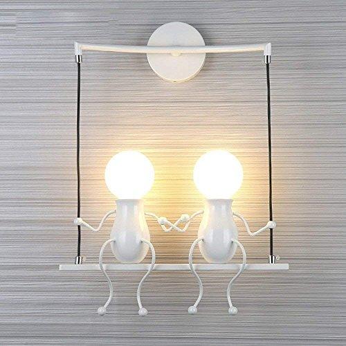 Simple Poupée De Mode Balançoire Enfants Applique Murale Moderne Salon Chambre Créative De Chevet Mur Lumière Vacances/Cadeau De Mariage (Blanc-2)