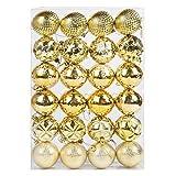 Luxus Bruchsicher Weihnachtsbaum Kugeln (60mm) 24 x Sortiert - Silbern