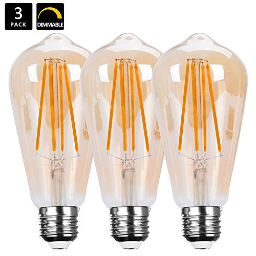 E27 Dimmable 6W LED Retro Bulbs, HANCLLED E27 ST64 Warm White 6W Vintage Edison Screw ES LED Filament Bulb Amber Clear Decorative Lamp Lighting Bulbs 60W Incandescent Energy Saving Light Bulbs Replacement [3 pack]