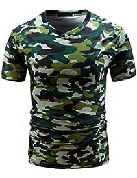 T-Shirts,Honestyi 2018 Frühling Sommer Herren T-Shirt Totenkopf Kapitän  Männer Casual Camouflage Print V-Ausschnitt Pullover Kurze T… b1d7089aaf