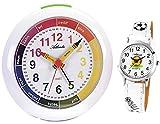 Atlanta Kinderwecker für Mädchen Jungen Weiß + Armbanduhr für Kinderuhr - 1265-0 KAU ws