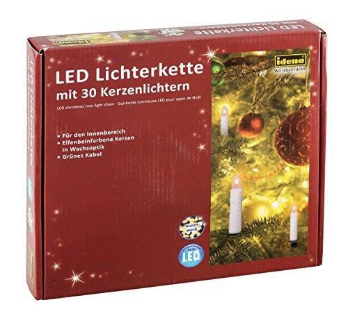Idena 38192 - LED Kerzenlichterkette mit 30 LED in warm weiß, 30 Kerzen mit Klemmen, perfekt für den Weihnachtsbaum, ca. 16 m -