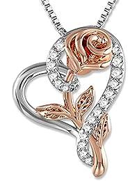 SNZM Collier de Fleurs pour Les Femmes Coeur Collier Infini Fille en Argent CZ Bijoux en Cristal Cadeau d'amour Infini pour diplômé