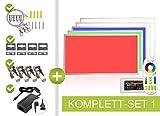 RGB+CCT LED Panel 120x60cm 44W 24V RGB Farben und Pastelltöne sowie Farbtemperatur von 2700K-6000K einstellbar dimmbar, Fernbedienung, Wand- und Deckenhalter, Seilaufhängung und Klammern als Einbau- Aufbauleuchte, Pendelleuchte Komplettset von LongLife by