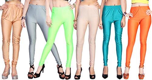 Comix Cotton Lycra Fabric Women Shiny Leggings Combo Set of 6(AGSPL-3135-VRE-LG-10-CMB6-VE22-3XL)