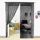 HSYLYM, Perlenvorhang für Türen, Wohnzimmer, als Raumteiler oder Dekoration, Textil, Schwarz, 90x245cm