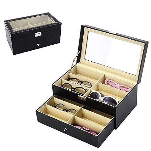 Iokheira Lunettes de soleil et lunettes écran Organiseur Boîte de 12grilles double couche imperméable à l'eau et à l'humidité étui de rangement avec serrure et clé