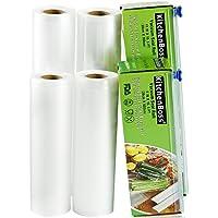 KitchenBoss Vakuumrollen 4 Rollen 20x500cm und 28x500cm Mit 2 kasten cutter Profi-Folienrollen, Kommerzielle Geprägte Taschen für Nahrungsmittelretter und Sous Vide Kochen, FDA-Zustimmung und BPA frei
