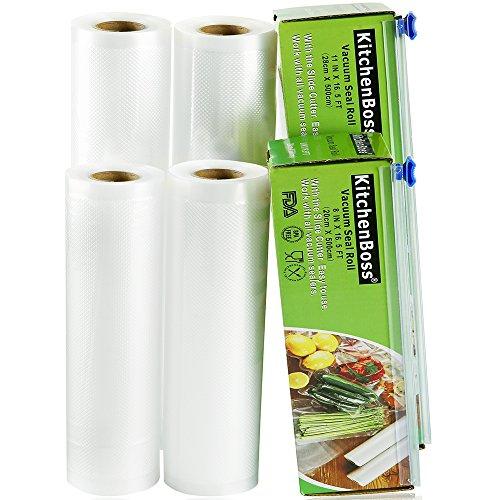 KitchenBoss Vakuumrollen 4 Rollen 20x500cm und 28x500cm Mit 2 kasten cutter Profi-Folienrollen, Kommerzielle Geprägte Taschen für Nahrungsmittelretter und Sous Vide Kochen, FDA-Zustimmung und BPA frei -