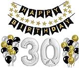 30 Geburtstag Dekoration Set, Deko Geburtstag, Geburtstagsdeko, Happy Birthday Dekoration. Zahlen Luftballons Silber 101cm + 24 Große Geperlte Ballons + 1 Happy Birthday Banner