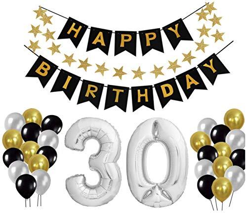 30 Geburtstag Dekoration Set, Deko Geburtstag, Geburtstagsdeko, Happy Birthday Dekoration. Zahlen Luftballons Silber 101cm + 24 Große Geperlte Ballons + 1 Happy Birthday Banner (Geburtstag-dekorationen Für 30. Ihr)