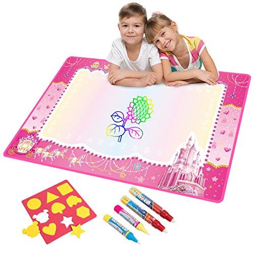 Doodle Tappeto Magico, Bambini Giocattoli Grandi Magic Toddlers Pittura Bordo Tappetini Scribble Boards con 4 Penna Magica e Disegnare Modelli per Ragazzi Ragazze Apprendimento 74x 49cm (Pink)