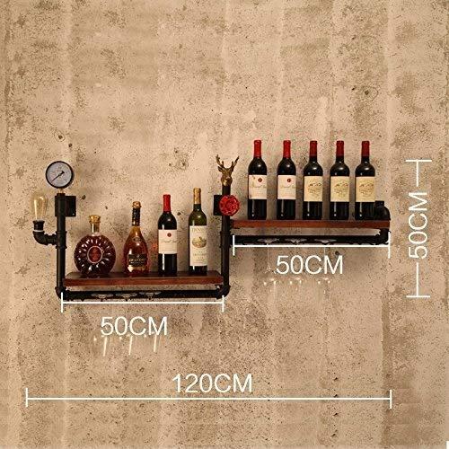 TUYIROE Schmiedeeisen Weinregal Wandbehang Bar Weinschrank Dachboden Eisen Weinregal Retro Industrie Wind Wand Rohr Lagerregal