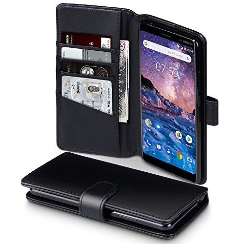 TERRAPIN, Kompatibel mit Nokia 7 Plus Hülle, [ECHT Leder] Brieftasche Case Tasche mit Standfunktion Kartenfächer und Bargeld - Schwarz
