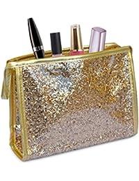 SHINE – Neceser impermeable con exterior de purpurina (20 x 15 x 6 cm) - Dorado