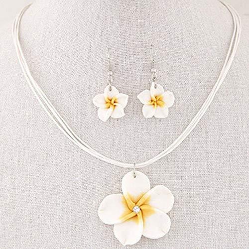 czos88 Hawaii Plumeria Blumen Schmuck Sets Fimo Ohrringe Halskette Anhänger Rot - Weiß, Free Size (Hawaii-ohrringe)