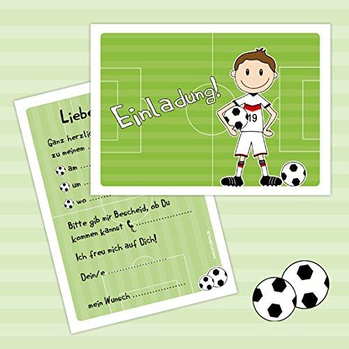 """10 Einladungen zum Kindergeburtstag """"FUSSBALLER"""" für Jungs zur Fussball-Party"""