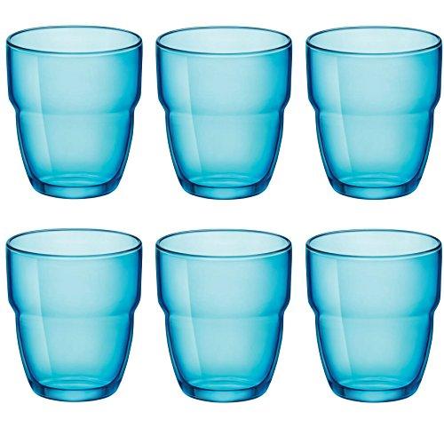 Verres Tumblers empilables Modulo - pour eau/jus - 305 ml - bleu - lot de 6