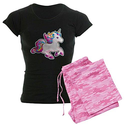 CafePress kawaii Magische Candy Einhorn Schlafanzüge–Damen Neuheit Baumwolle Pyjama Set, bequemen PJ Nachtwäsche Gr. Medium, With Pink Camo Pant