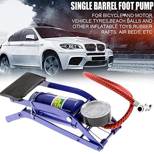 Katurn Fußkompressor Luftpumpe, Manuell Manometer Inflation Pumpe, Tragbare Reifenpumpe Luftverdichter für Fahrrad, Motorrad Inflatables