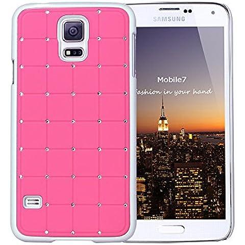 Diamond Valor Razonable Samsung Glaxay S4 Mini Lujo Crystal Cruz caso de la cubierta rosada Bling duro con marco blanco para el mini Samsung Glaxay S4