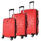 SHAIK® Serie XANO HKG Design Hartschalen Trolley, Koffer, Reisekoffer, in 3 Größen M / L / XL / Set 50/80/120 Liter, 4 Doppelrollen, TSA Schloss (Koffer Set, Rot)