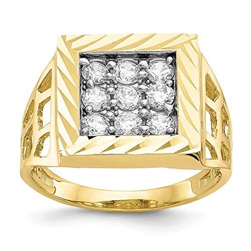 3mm 10K Herren Zirkonia Ring-Höhere Gold Goldgrad als 9Karat Gold (10k Birthstone Ring)